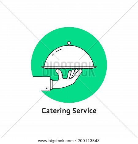 green linear round catering logo. concept of cafe, bistro, cover, nutrition, healthy cookery, courier, diet. isolated on white background. flat style modern brand logotype design vector illustration