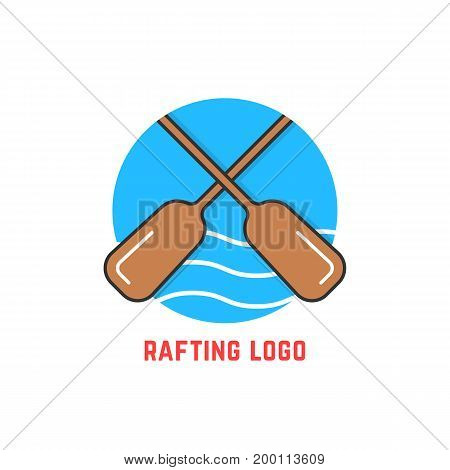 round blue rafting logo. concept of teamwork, risky, tourism print, leisure, dangerous exercise, expedition. isolated on white background. flat style trend modern brand design vector illustration