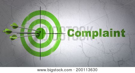 Success law concept: arrows hitting the center of target, Green Complaint on wall background, 3D rendering