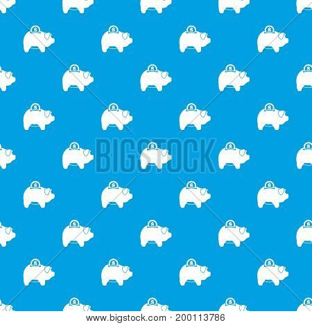 Pig money box pattern repeat seamless in blue color for any design. Vector geometric illustration
