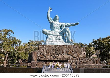 Nagasaki Peace Statue in Nagasaki Peace Park, Japan