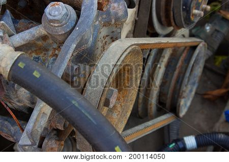 Belt Of The Generator And An Old Car Generator
