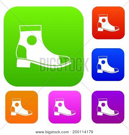 Men boot set icon in different colors isolated vector illustration. Premium collection