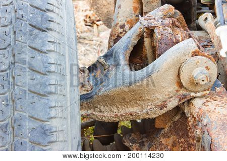 Old Rusty Chassis, The Car With The Gearbox, Driveshaft, Differential