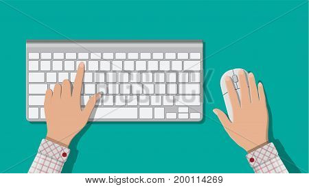 Modern aluminum computer keyboard and mouse. Hands of user. Wireless input device. Vector illustration in flat style