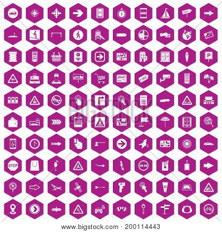 100 pointers icons set in violet hexagon isolated vector illustration
