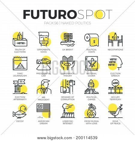 Stroke line icons set of truth about politics and political games. Modern flat linear pictogram concept. Premium quality outline symbol collection. Simple vector material design of web graphics.