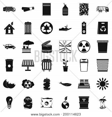 Save ecology icons set. Simple style of 36 save ecology vector icons for web isolated on white background