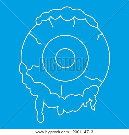Terrible eyeball icon blue outline style isolated vector illustration. Thin line sign