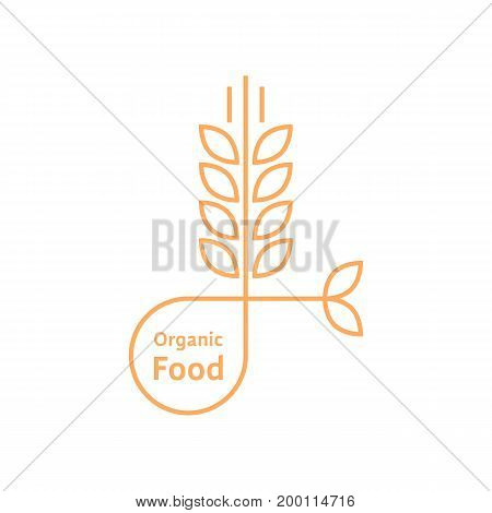 orange organic food logo like wheat ears. concept of rice, gluten, bio, herbal badge, brewery, bakery mark. isolated on white background. flat style trend modern brand design vector illustration