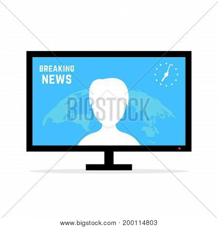 breaking news with anchorwoman. concept of anchorperson, report, map, blog, correspondent, broadcaster, internet tidings, webinar. flat style modern design vector illustration on white background