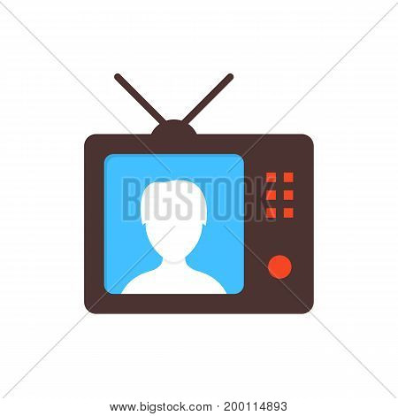 brown tv icon with anchorwoman. concept of anchorperson, report, blog, correspondent, broadcaster, internet tidings, webinar. flat style modern design vector illustration on white background