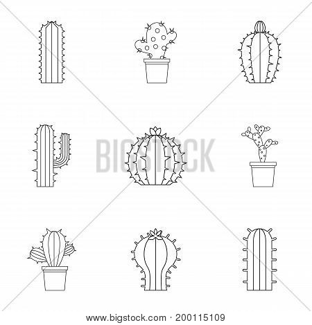 Cactus icon set. Outline style set of 9 cactus vector icons for web isolated on white background
