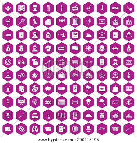 100 police icons set in violet hexagon isolated vector illustration