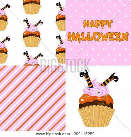 Stock vector. Sweet cupcake on the occasion of Halloween. Boots witch. Set for your design.
