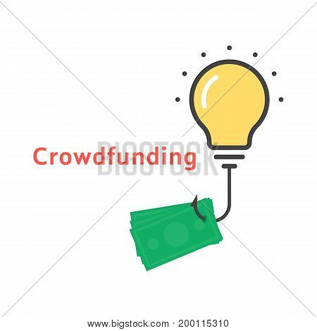 crowdfunding icon with outline bulb. concept of lamp, invest, startup income, global exchange, successful innovate, sponsor. flat style trend modern logo design vector illustration on white background