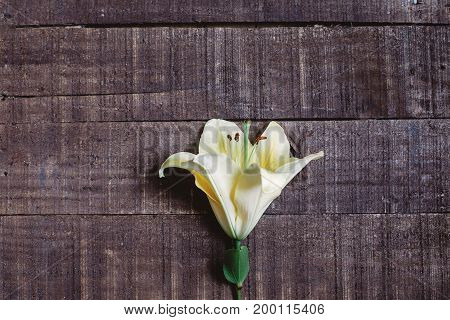 Beautiful Yellow Lily Flower On Rustic Wooden Background. Gorgeous Bloom Minimalistic  On Rustic Woo