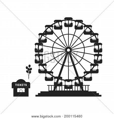 black ferris wheel with cash desk. concept of skyline, tower badge, event, admission, access, cityscape, shop, celebration. flat style trend modern logo design vector illustration on white background