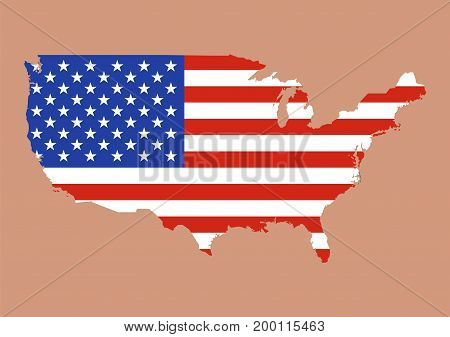United States of America map with usa flag inside. Vector illustration