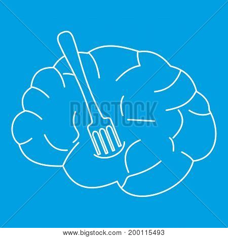 Human brain with fork icon blue outline style isolated vector illustration. Thin line sign