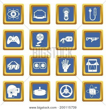 Virtual reality icons set in blue color isolated vector illustration for web and any design