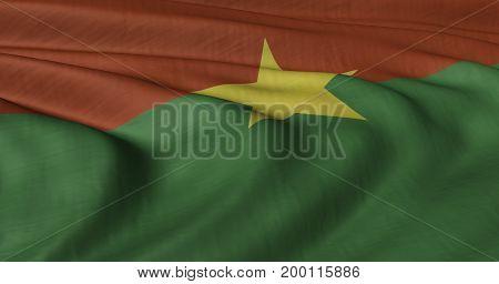 3D illustration of Burkina Faso flag fluttering in light wind.