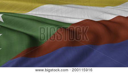 3D Illustrated Comoros flag fluttering in light wind.