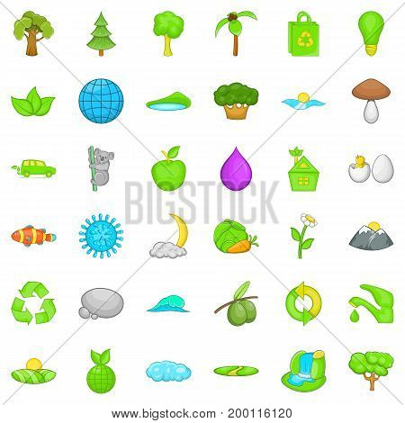 Green earth icons set. Cartoon style of 36 green earth vector icons for web isolated on white background