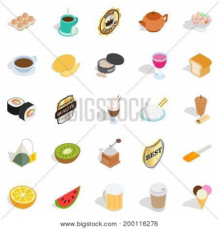 Quencher icons set. Isometric set of 25 quencher vector icons for web isolated on white background