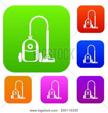 Vacuum cleaner set icon in different colors isolated vector illustration. Premium collection