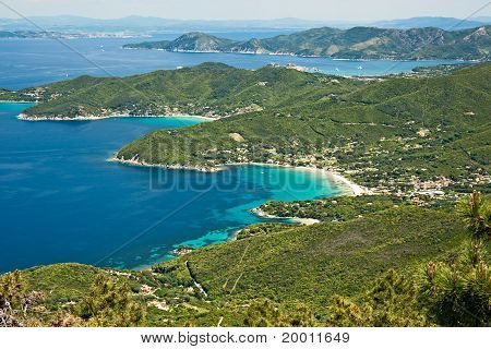Panoramic view from Monte capanne Elba island.