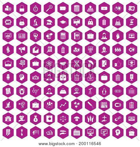 100 portfolio icons set in violet hexagon isolated vector illustration