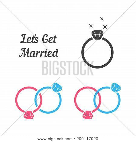 set of rings like get married. concept of invite festival, bridal, civil groom, gem, precious, spouse, party celebrate. flat style trend modern ring logo design vector illustration on white background