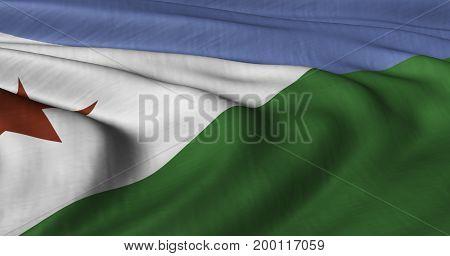 3D Illustration of Djibouti flag fluttering in light wind.