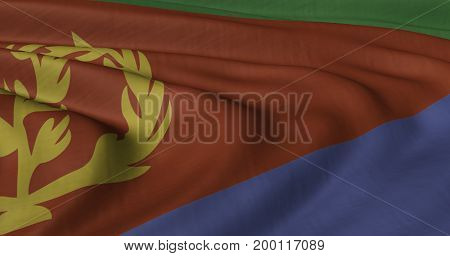 3D illustration of Eritrea flag fluttering in light wind.