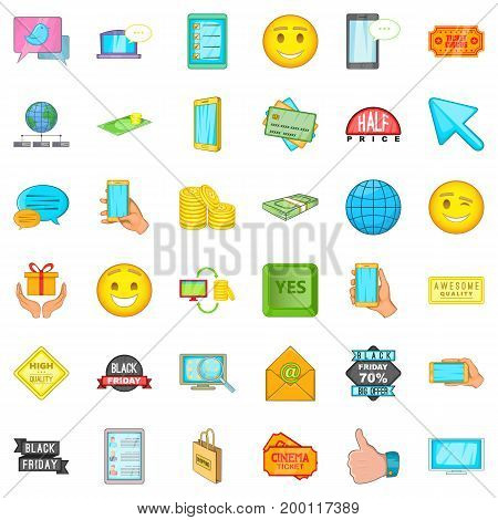 Online commerce icons set. Cartoon style of 36 online commerce vector icons for web isolated on white background