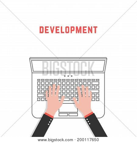 development with thin line laptop and hands. concept of freelancer routine, lifestyle, analytics, promotion, seo, designer, developer. flat style trend design vector illustration on white background