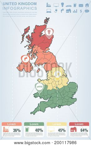 United Kingdom with Infographic elements. Infographics layouts. Vector illustration
