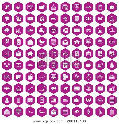 100 postal service icons set in violet hexagon isolated vector illustration