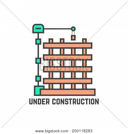 outline building under construction. concept of page not found info, cityscape, machine, apartment, engineer, growth, build. flat style trend modern logo design vector illustration on white background