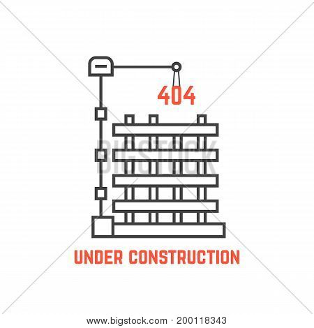 under construction like server error. concept of page not found info, cityscape, machine, apartment, engineer, growth build. flat style trend modern logo design vector illustration on white background