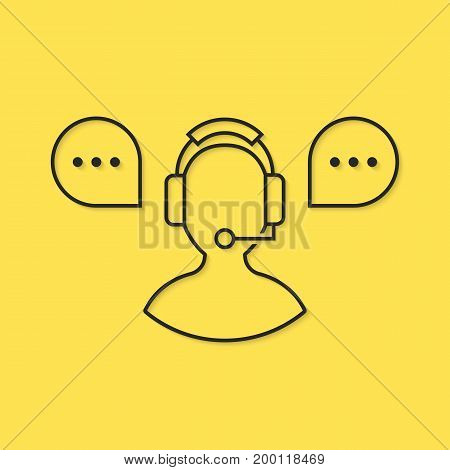 assistant icon from black thin line. concept of crm, ui, seo, repair, learning, tech care, e-commerce, retail, mobile app. flat style trend modern logo design vector illustration on yellow background