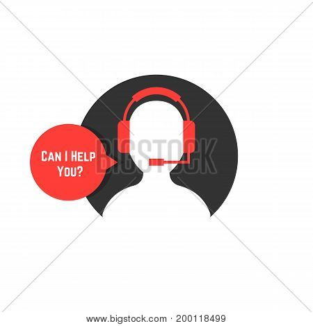 silhouette assistant with red bubble. concept of crm, ui, seo, repair, learning, tech care, e-commerce, retail, mobile app. flat style trend modern logo design vector illustration on white background