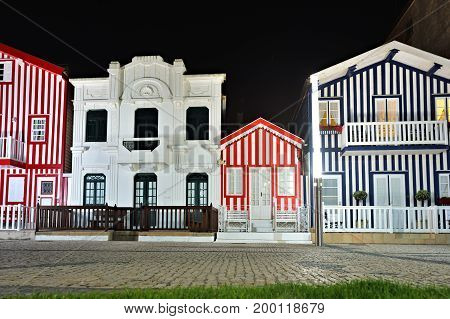 Striped Colored Houses At Night, Costa Nova, Beira Litoral, Portugal, Europe