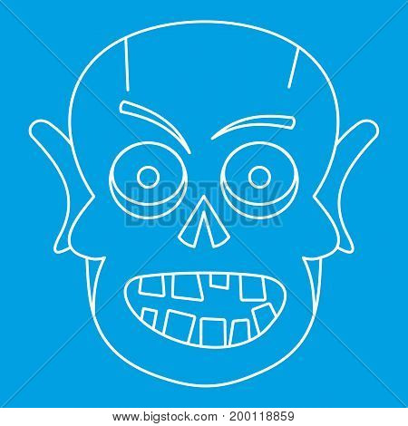 Dead icon blue outline style isolated vector illustration. Thin line sign