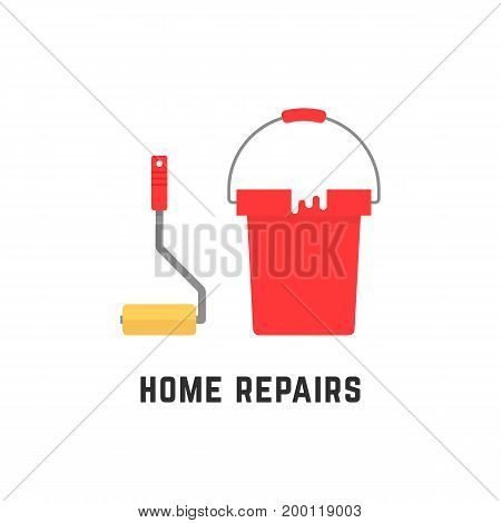 roller and bucket like home repairs. concept of platen, renovate, decorate, floor renewal, new idea, utensil, job, plan. flat style trend modern logo design vector illustration on white background
