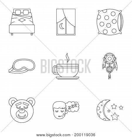 Sleep symbols icon set. Outline style set of 9 sleep symbol vector icons for web isolated on white background