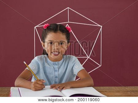 Digital composite of Student girl at table writing against red blackboard with school and education graphic