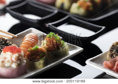 Japanese sushi, oriental sea food. Healthy food concept.