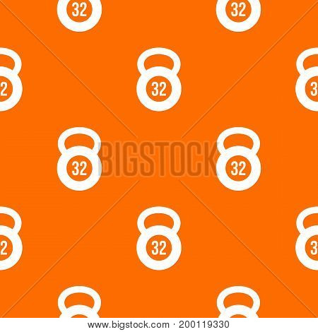 Kettlebell 32 kg pattern repeat seamless in orange color for any design. Vector geometric illustration